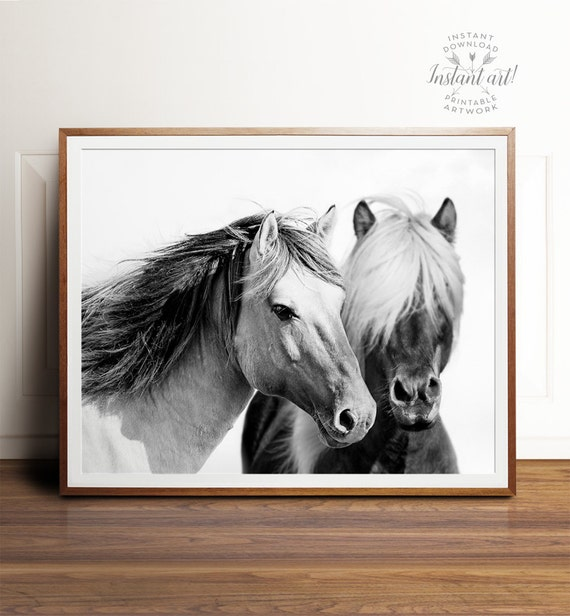 Horse print, PRINTABLE art, Horse photography, Black and white wall art, Art prints, Large wall art, Horse art, Horse decor, Contemporary