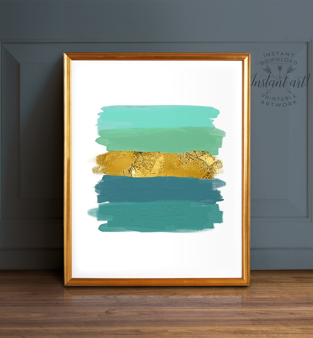 abstract art teal wall art printable art teal and gold. Black Bedroom Furniture Sets. Home Design Ideas