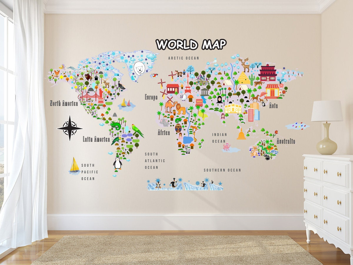Animal map cultural world map wall decal reusable vinyl fabric animal map cultural world map wall decal reusable vinyl fabric repositionable decal gumiabroncs Images