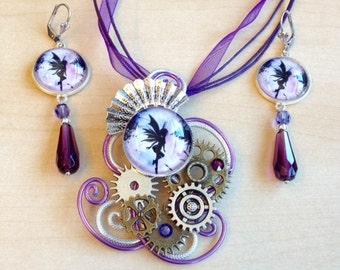 Original! Steampunk jewelry purple aluminum with Elvish cabochon, workings and Swarovski Crystal