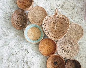 Vintage Bohemian Collection Woven Basket Wall Set of 10 Instant Collection Earth Tones Boho Maximalist Style Jungalow Boho Home Bohemian Art