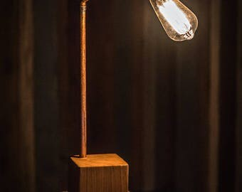 Oak & Copper Industrial Lamp. Handmade, Contemporary and Industrial Lamp Oak Base. Addison Bulb