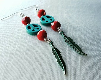 Bohemian earrings ban the bomb turquoise and siam red