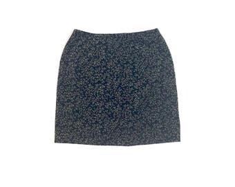 Vintage 90s Minimal Black Velvet Brown Floral Pattern High Waisted Mini Skirt