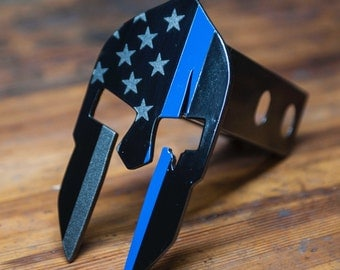 Spartan Trailer Hitch Cover - Subdued American - Thin Blue Line