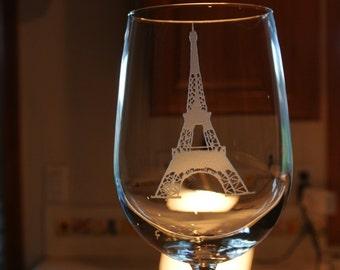 eifel tower on large wine glass