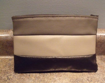 tri color pleather clutch