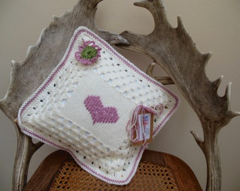 Small Crochet  Cushion Scatter Pillow Knit Cushion with Heart Design in Cream and Pink Home Accessory Gift