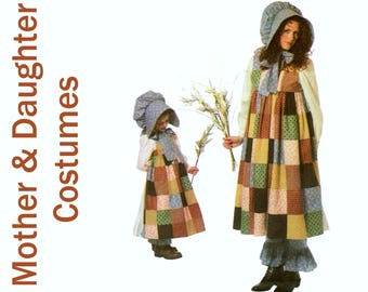 Mother Daughter Costume Pattern HOLLY HOBBIE Dress SIMPLICITY 4419 uncut All Sizes Prairie Dress Prairie Bonnet Pattern Prairie Costume
