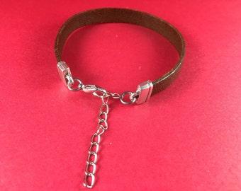 5/10 MADE IN GREECE, mykonos casting adjustable  clasp, silver clasp, flat cord clasp, 10mm flat cord clasp, bracelet clasp (B3217as)Qty 1