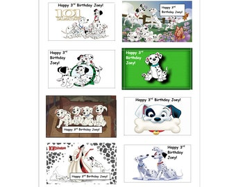 8 PERSONALIZED 101 Dalmations Stickers, Birthday Party Favors, Labels, Decals, Scrapbooking, Crafts, Rewards, Custom Made