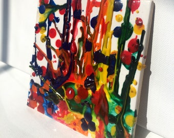 Gift of Art Splatter Wax Colorful Tile Magnet