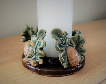 Vintage Ceramic Acorn Candle Holder, Pillar Candleholder, Acorns and Oak Leaves