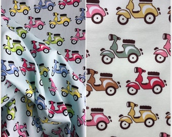 Scooter Cotton Fabric - Ivory Cotton - Pale Blue Material - 100% Cotton F010