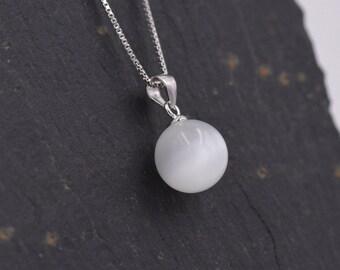 Sterling Silver Cat's Eye Stone Pendant Necklace 18'' - Minimalist Design z40