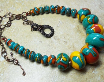 Lampwork blown hollow turquoise,butter yellow and red bead necklace