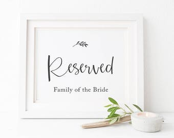 Reserved Family of the Bride and Groom 8x10inch Wedding Sign, Charcoal and White Little Leaf, Instant Download, Peach Perfect Australia