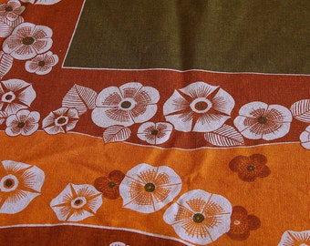 Mid Century Modern Tablecloth- FLOWER POWER -Retro Table Linens - 54 by 48 Inches- Mod Tablecloth - Vintage Tablecloth -