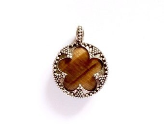 Tiger Eye Silver Filigree Pendant VIKING KRISTALL Gotland