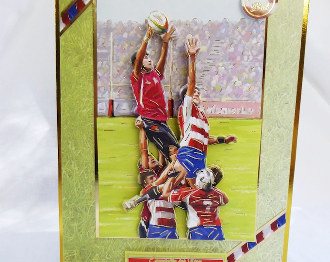 Rugby Match Card, Birthday Card, Greeting Card, 3 D Decoupage Card, Male, Any Age, Father, Son, Brother, Nephew, Uncle,