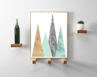 Scandinavian print. Mint and copper geometric triangle print. Modern, minimalist, scandinavian wall art. Downloadable Poster in 8.5x11.