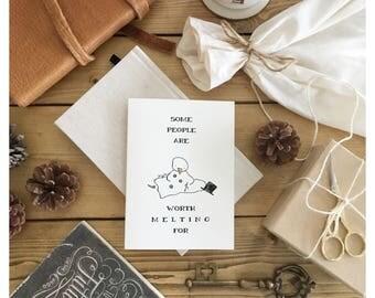 SNOWMAN CARD // olaf, olaf card, frozen, frozen card, disney, disney card, christmas card, funny christmas card, love card, funny love card
