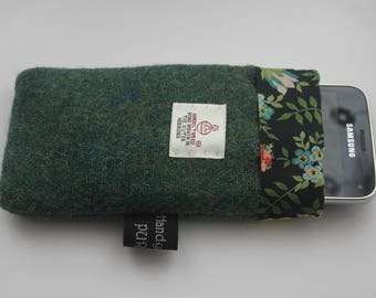 Harris Tweed Green Mobile Cozy, Liberty Edenham Phone Case, Liberty Phone Cozy, Wool Phone Case, Tweed Phone Case, Gifts for Girlfriends