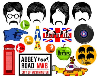 Beatles digital photo booth party props instant download