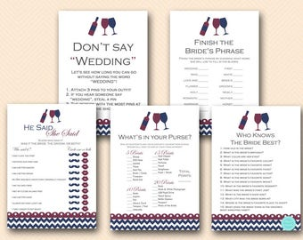 Navy and Red Wine Bridal Shower Game Pack, Winery Bridal Shower Game Printables, Wine Themed Bridal Shower Game BS102