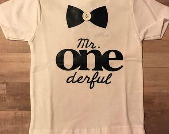 Mr. Onederful shirt, boys first birthday shirt