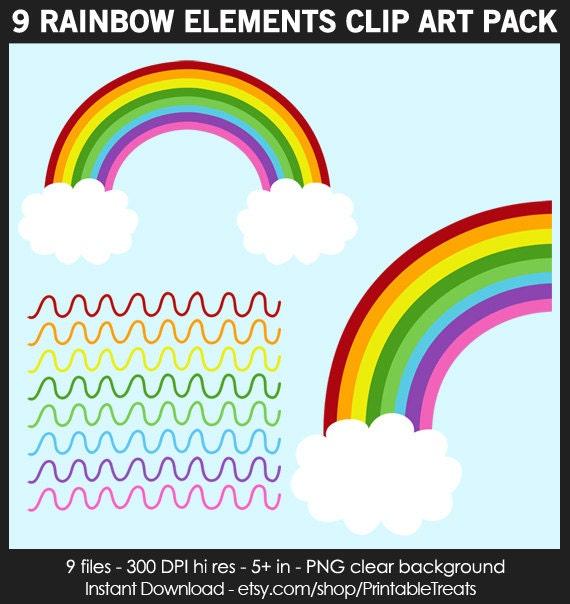 9 Rainbow Clipart Pack Commercial Use Balloons Rainbow