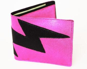 Eighties Rocker Shiny Hot Pink Lightning Bolt Vegan Wallet