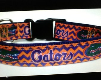 Handmade University of Florida dog collar Gators Adjustable nylon