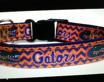 Handmade University of Florida dog collar Gators Adjustable nylon