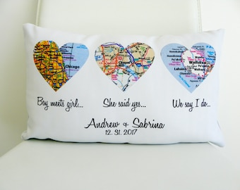 Map pillow Etsy