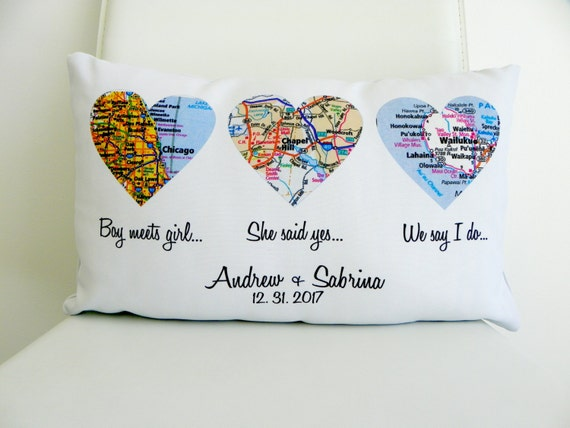 Heart Map Pillow Personalized Wedding Gift Map Heart Wedding