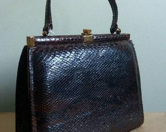 40s Vintage Snakeskin Handbag, Dark Brown Reptile Costume Bag