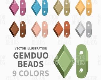 Two-hole GemDuo Diamond Shaped Beads Clipart Set - ai, eps, pdf, png