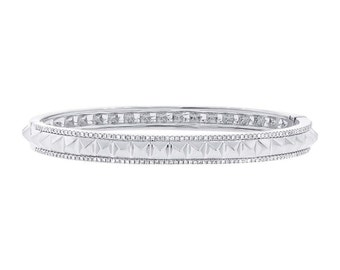 Unique Woman Studded Diamond 14k White Gold Bangle, 0.50CT 14K White Gold Diamond Spike Bangle, Spikey Diamond Bangle Bracelet