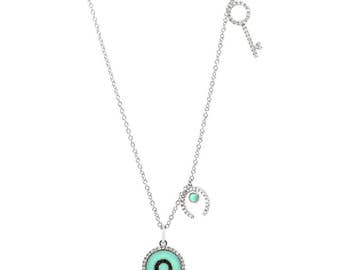 Beautiful 0.23ct Black and White Diamond & 0.80ct Composite Turquoise 14k White Gold Key Necklace