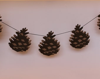 pinecone garland, pinecone, pinecones, woodsy, woodland, woodland garland, woodland decor, woodland decorations, christmas garland