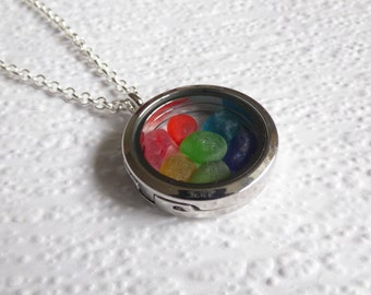Rainbow bright multi coloured Seaham seaglass floating locket necklace- genuine English sea glass