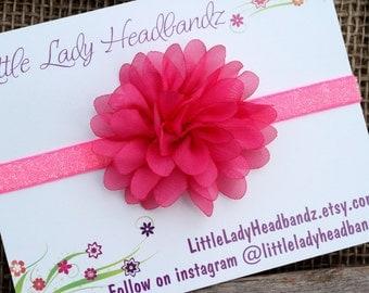 Neon pink baby headband newborn headband - hot pink chiffon flower - infant newborn toddler