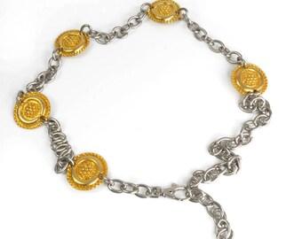 Vintage chain belt - 1980s retro belt - dark silver chain - gold tone flower discs - heavy quality metal belt - hipster belt multi size