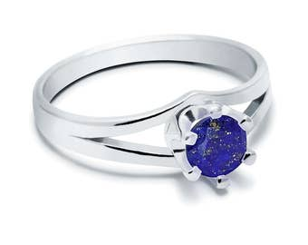 Lapis Lazuli Ring, 925 Sterling Silver. SIZE 5.50 (inner diameter 19mm), color navy blue, weight 2.2g, #44433
