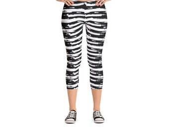 Horizontal Brush Stripe Leggings - Women's Active Wear Pants - Zen Fun Yoga Pants - Sizes XS to XL - Polyester/Spandex - Gift Idea for Her