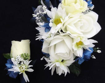 Wedding Prom Navy White Rose Flowers Wrist Corsage or 2pc with Boutonniere