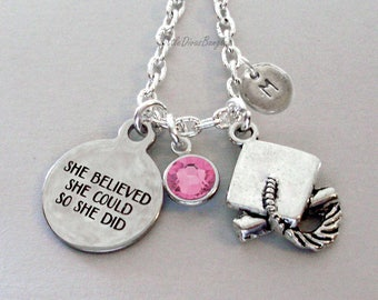 She Believed She Could  Graduation Charm Necklace W/ Swarovski Birthstone  Inital -  Graduation / Birthday Gift  For Her /  20 30  Usa  NK1