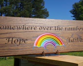Custom Engraved Over the Rainbow Wood Tree Swing Solid Oak Personalized