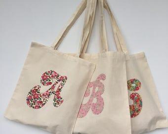 Initial Liberty Print Tote Bag/Personalised Liberty Print Tote/Bridesmaids gift tote/monogram tote/initial calicobag/projectbag/personalized